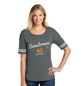 Rah-Rah Clothing Barnstormer Baseball State of Iowa WOMEN'S Scorecard Tee-Heathered Charcoal/White