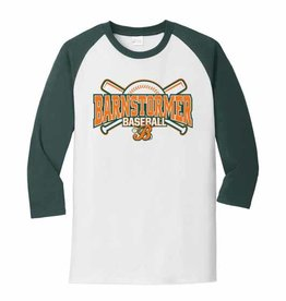 Rah-Rah Clothing Barnstormer Baseball Core Blend 3/4 Sleeve Raglan Tee-White/Dark Green