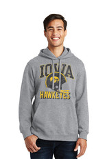 Rah-Rah Clothing Iowa Hawkeyes Vintage Helmet Hoodie-Heather Grey