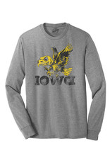 Rah-Rah Clothing Iowa Old School Bird Triblend Long Sleeve Tee-Grey Frost