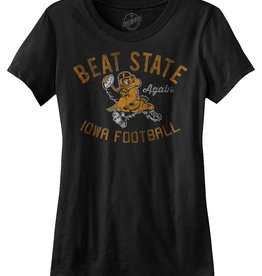Rah-Rah Clothing Iowa Football-Beat State Again Ladies Short Sleeve Tee-Black