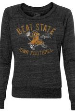 Rah-Rah Clothing Iowa Football-Beat State Again Ladies Slouchy Pullover-Black