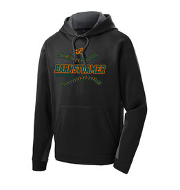 Barnstormer Baseball Sport Wick Fleece Colorblock Hooded Pullover-Black/Dark Smoke Grey