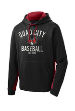 Quad City Heat Baseball Sport Wick Fleece Colorblock Hooded Pullover-Black/Red