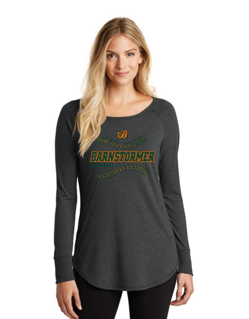 Barnstormer Baseball Women's Triblend Long Sleeve Tunic Tee-Black Frost