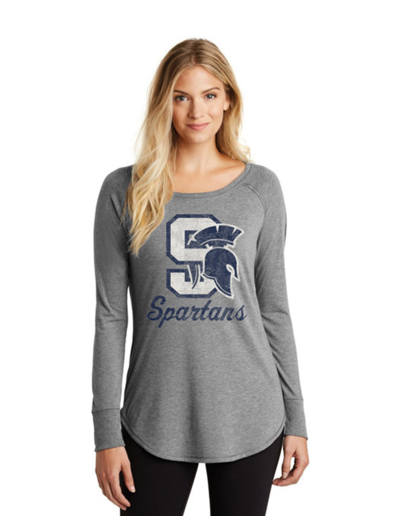 Pleasant Valley Spartans Women's Triblend Long Sleeve Tunic Tee-Grey Frost