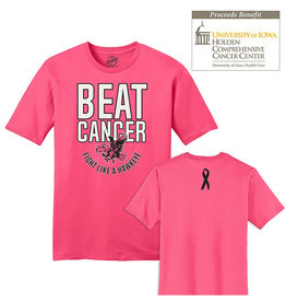 Rah-Rah Clothing 2019 Edition Beat Cancer Fight Like A Hawkeye Short Sleeve Tee-Neon Pink