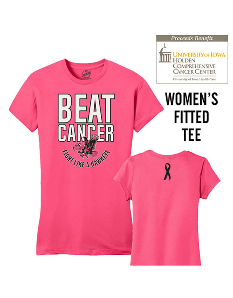 Rah-Rah Clothing 2019 Edition Beat Cancer Fight Like A Hawkeye Women's Fitted Short Sleeve Tee-Neon Pink