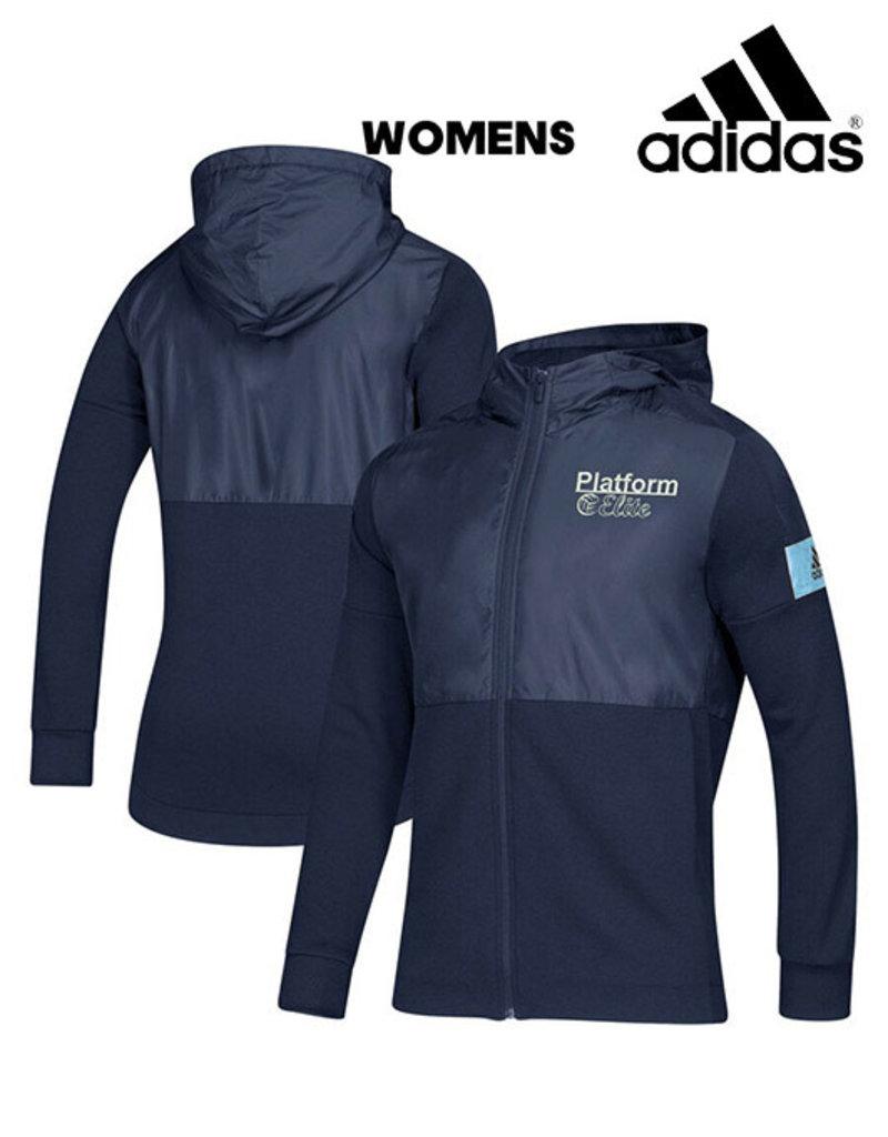 Adidas Platform Elite adidas Women's Game Mode Full Zip Jacket w/Hood-Navy/Light Blue
