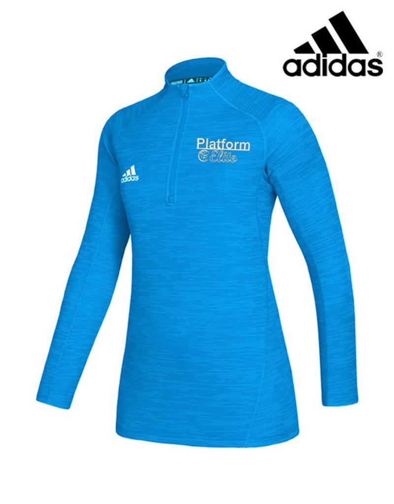 Adidas Platform Elite adidas Ladies Game Mode 1/4 Zip Pullover-Light Blue
