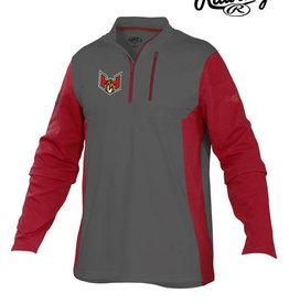 Rawlings QC Heat Rawlings 1/4 Zip Fleece Pullover Jacket-Grey/Scarlet