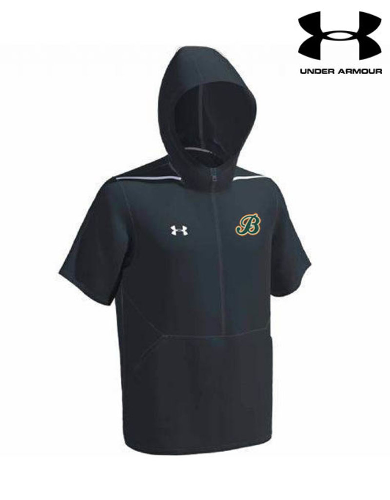 Under Armour Barnstormers Under Armour EVO Short SLeeve 1/2 Zip Hooded Cage Jacket-Stealth Grey