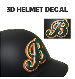 """B"" 3D Baseball Helmet Decal"