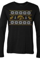 Rah-Rah Clothing Iowa Hawkeye Ugly Christmas Print Long Sleeve Tee