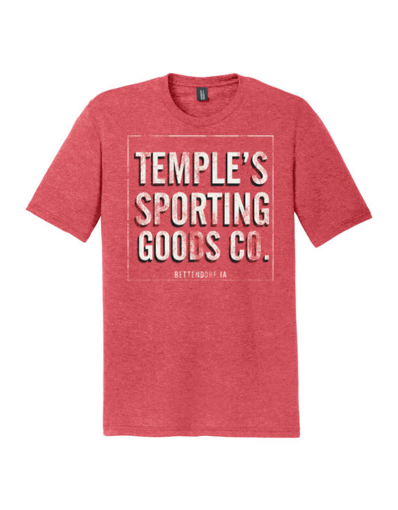 Vintage Temple's Sporting Goods - Bettendorf IA - Triblend Short Sleeve Tee-Red