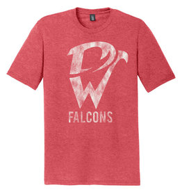 Davenport West Falcons Vintage Triblend Short Sleeve Tee-Red Frost