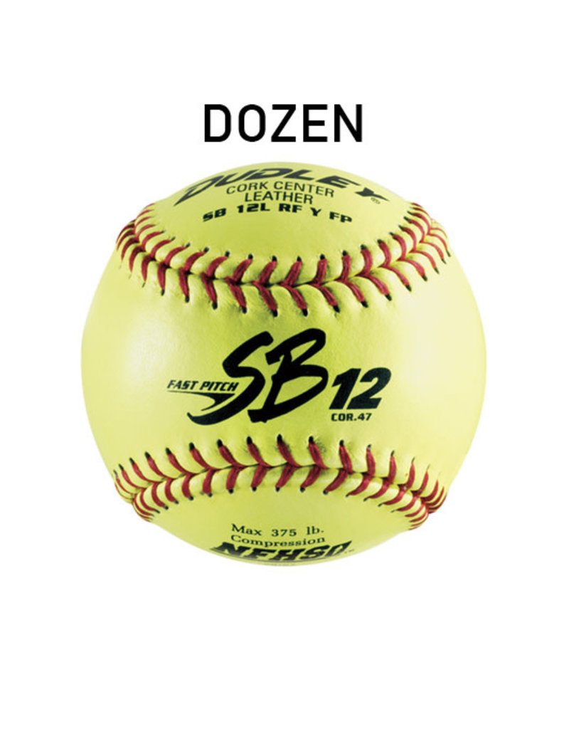 "Dudley Dudley SB12L NFHS 12"" Fastpitch leather Softballs (Dozen) 375lbs .47cor"