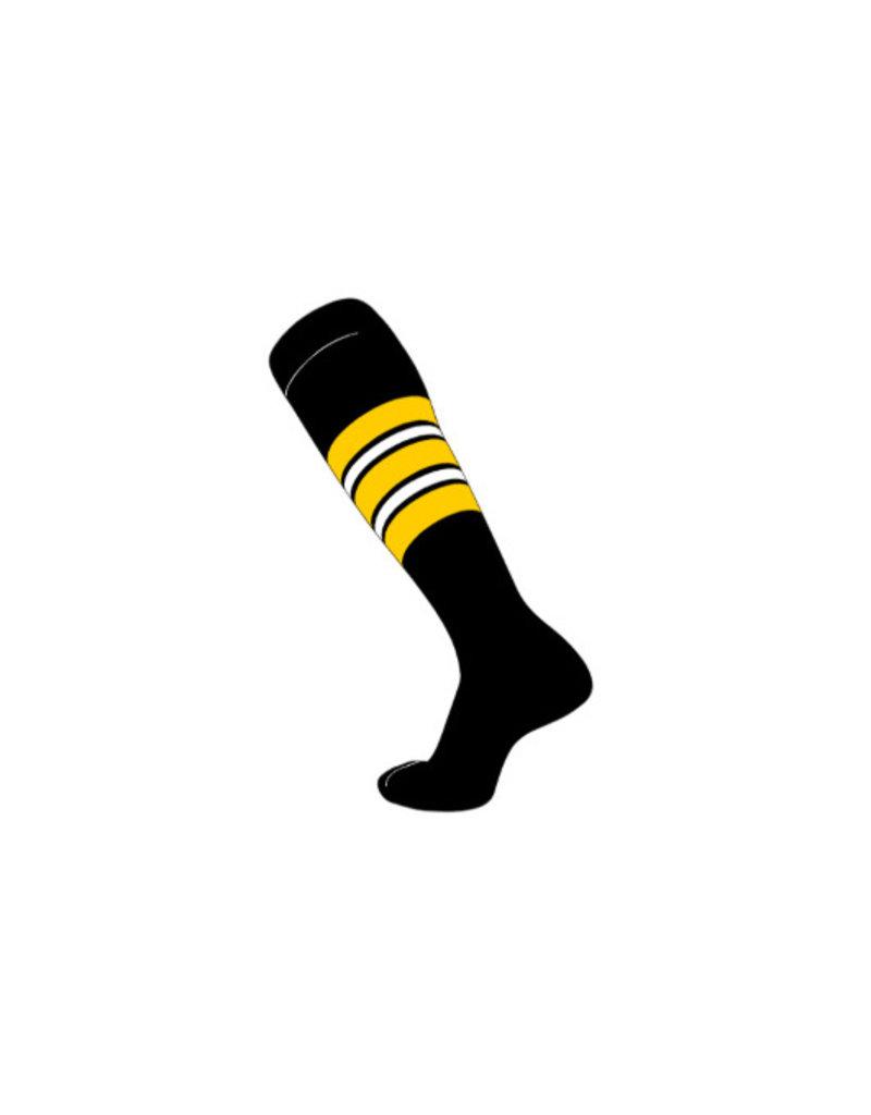 TCK Pro Pattern F Socks-Black with Gold/White/Black Striping Pattern