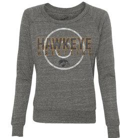 Vintage Hawkeye Wrestling Mat Ladies' Slouchy Pullover-Sport Grey