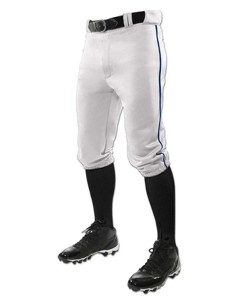 Champro TRIPLE CROWN youth  Knicker style baseball pants with braiding White w/navy braid
