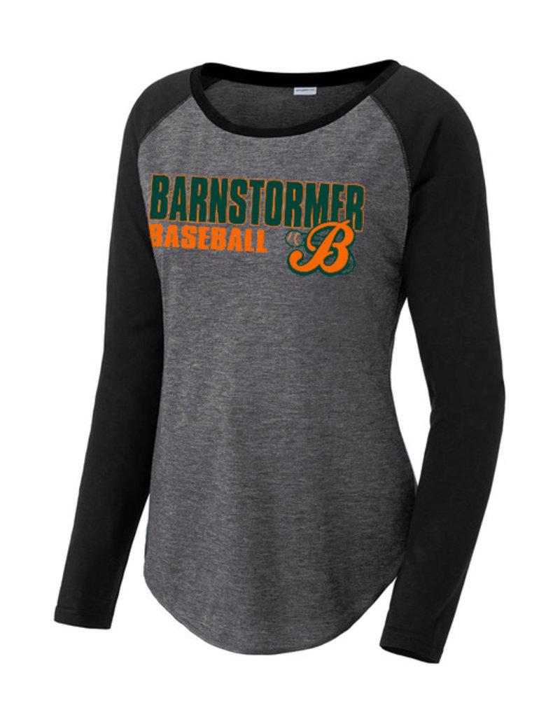 Barnstormer Baseball Ladies Tri-Blend Long Sleeve Raglan Tee-Dark Grey/Black