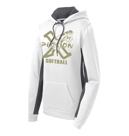 PV X-Plosion Limited Edition Metallic Gold Design Ladies Sport-Wick Fleece Colorblock Hooded Pullover