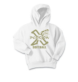 PV X-Plosion YOUTH Limited Edition Metallic Gold Design Basic Hooded Sweatshirt-White
