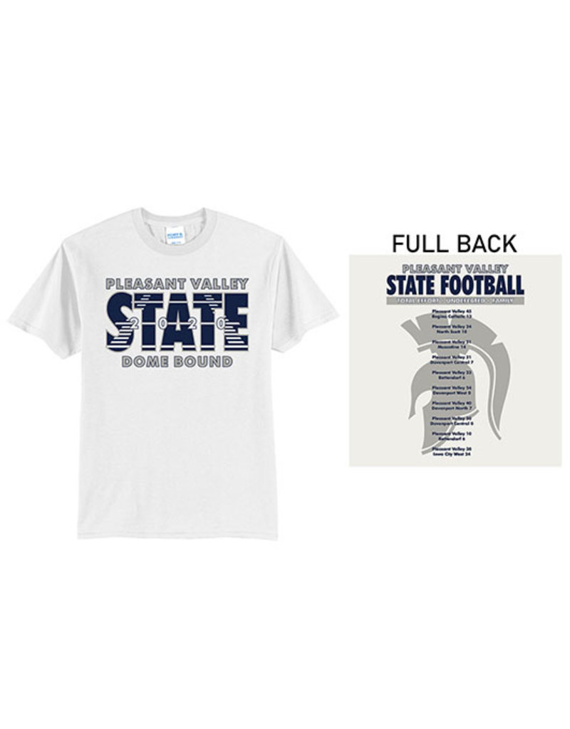 Pleasant Valley State Football Unisex Basic Short Sleeve Tee-White