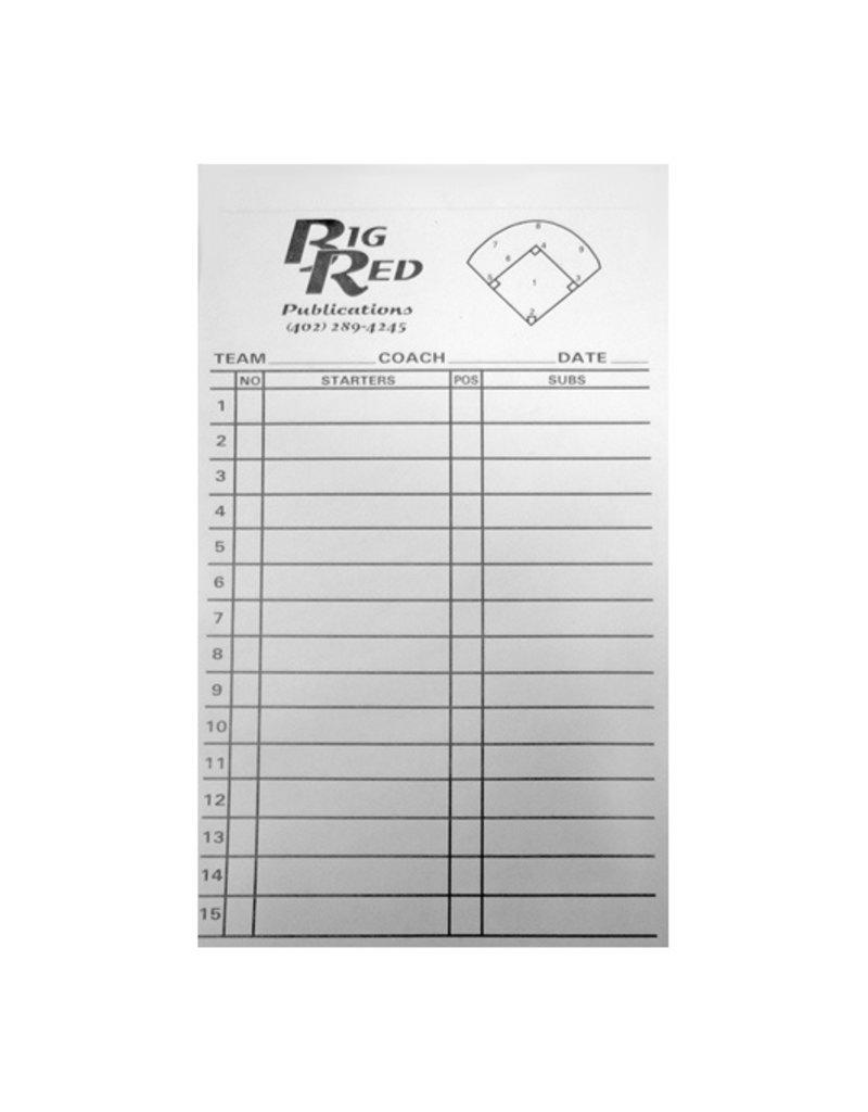 Big Red Baseball/Softball Line Up Cards (set of 12)