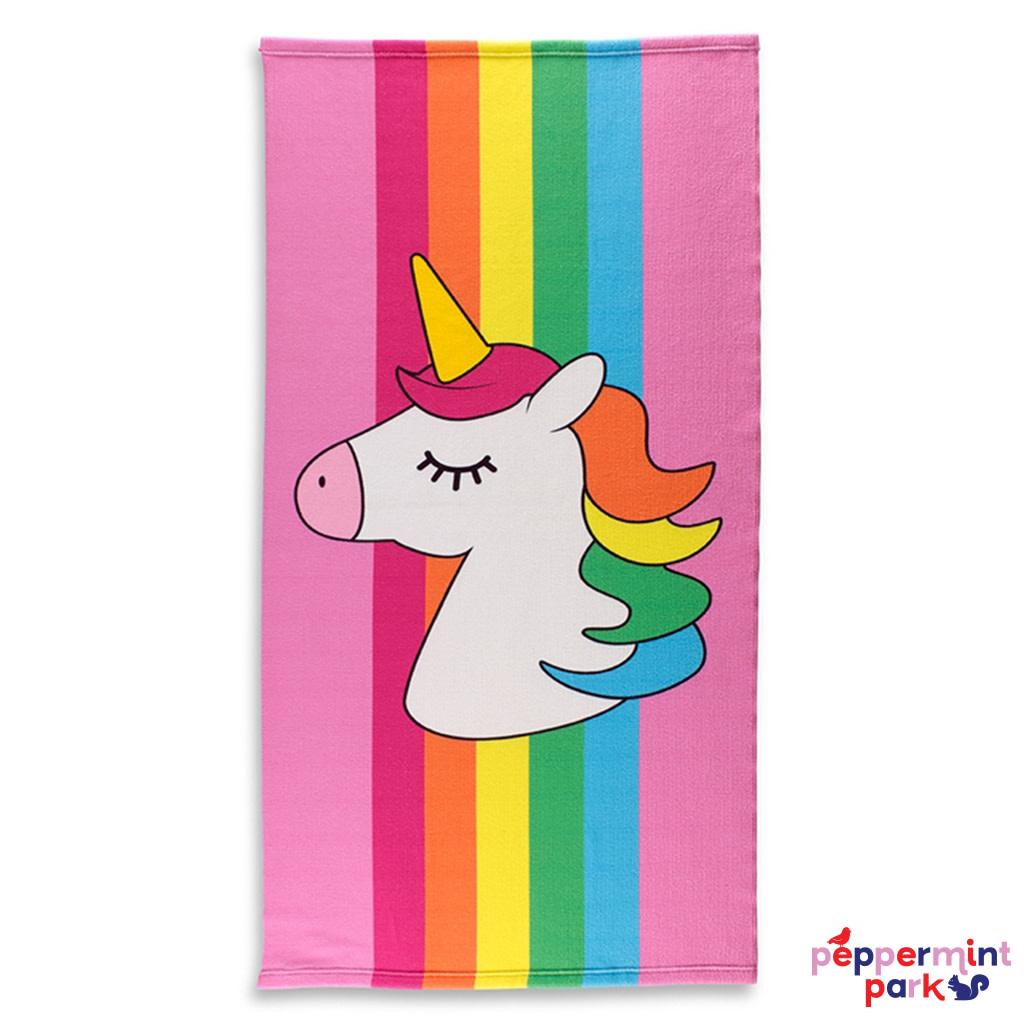 Top Trenz Rainbow Stripe Unicorn Beach Towel