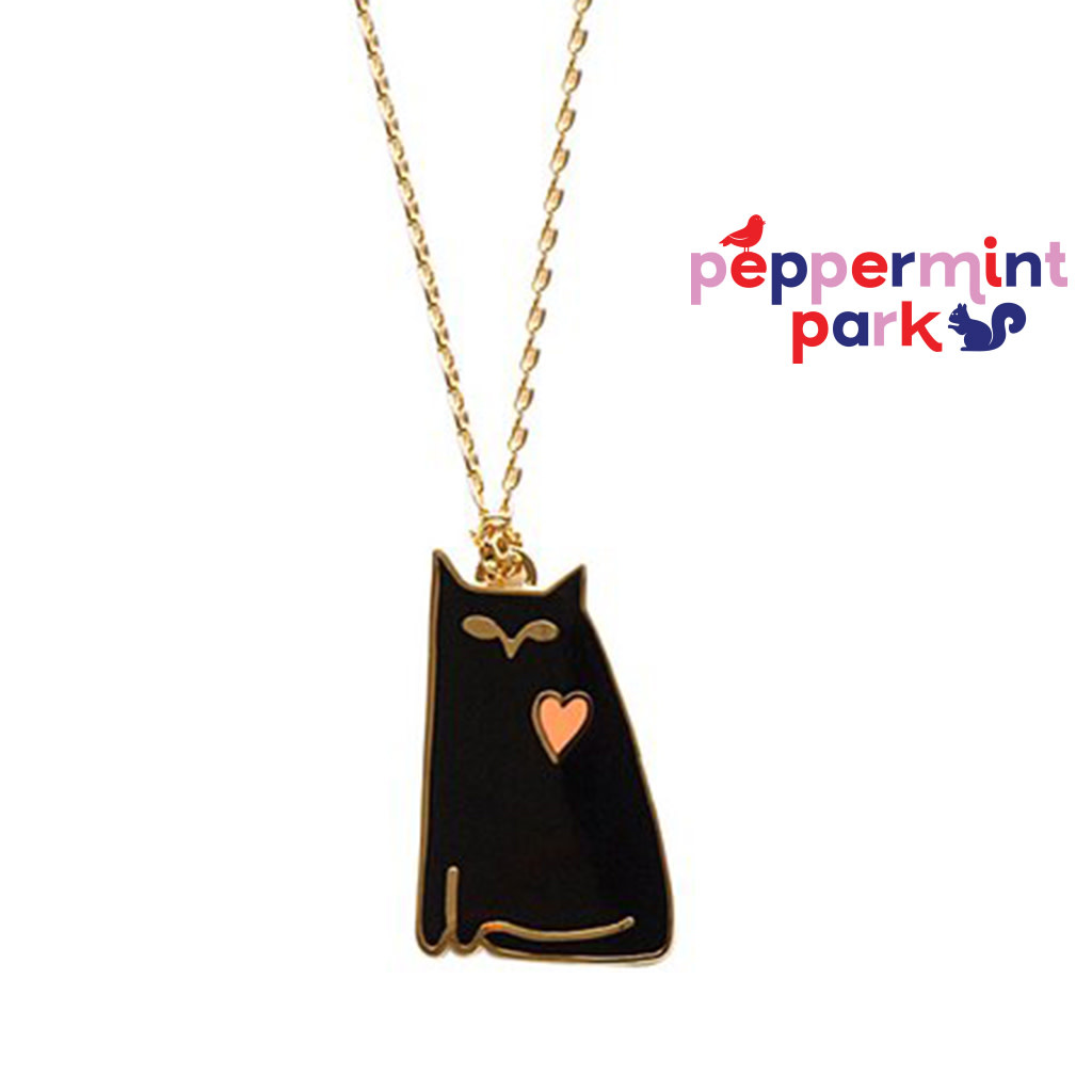 Yellow Owl Workshop Black Cat Love Pendant Necklace
