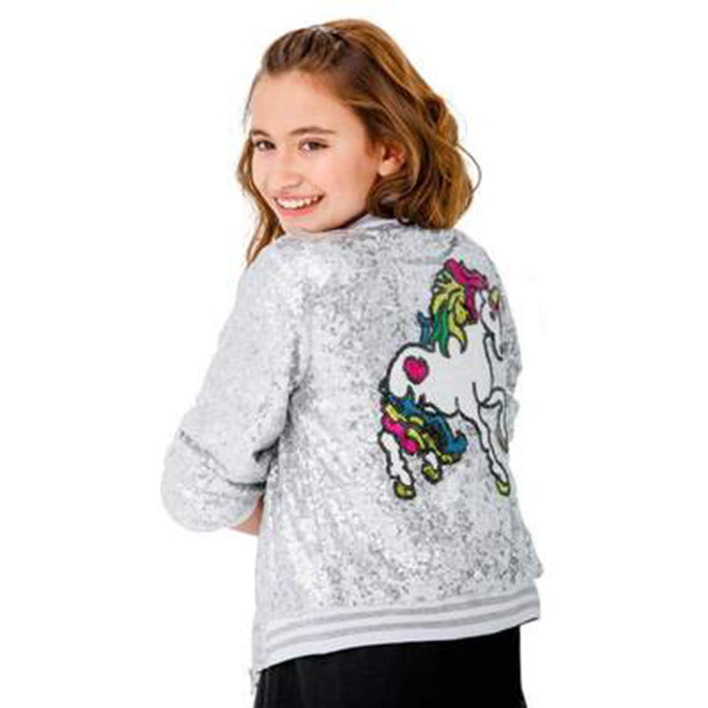 Lola & The Boys Unicorn Sequin Bomber