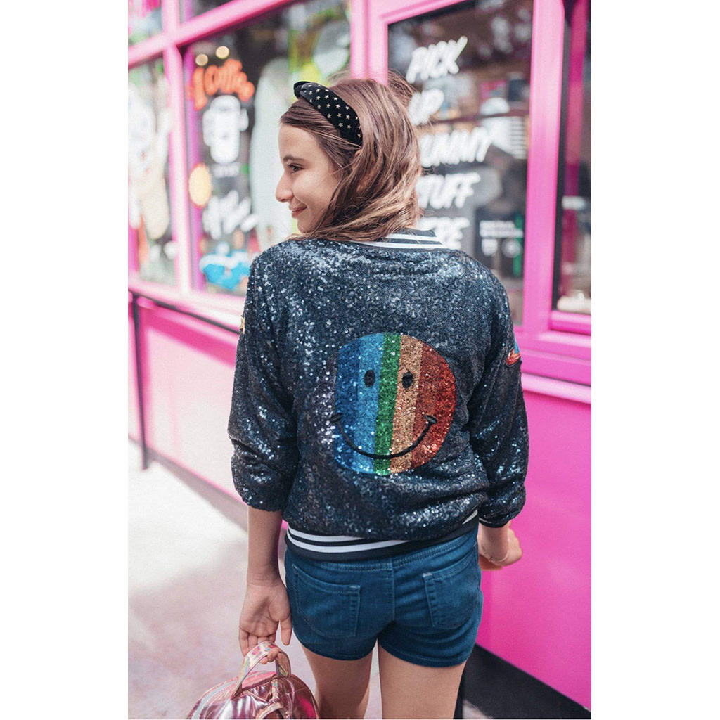Lola & The Boys Rainbow Emoji Sequin Bomber