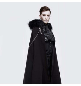 Black Full Length Cloak with Zipper, Chains and Faux Fur Hood