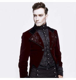 Velvet Tailcoat with Embroidered Under Shirt and Studded Lapel