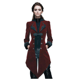 Burgundy Velvet Gothic Swallotail Coat