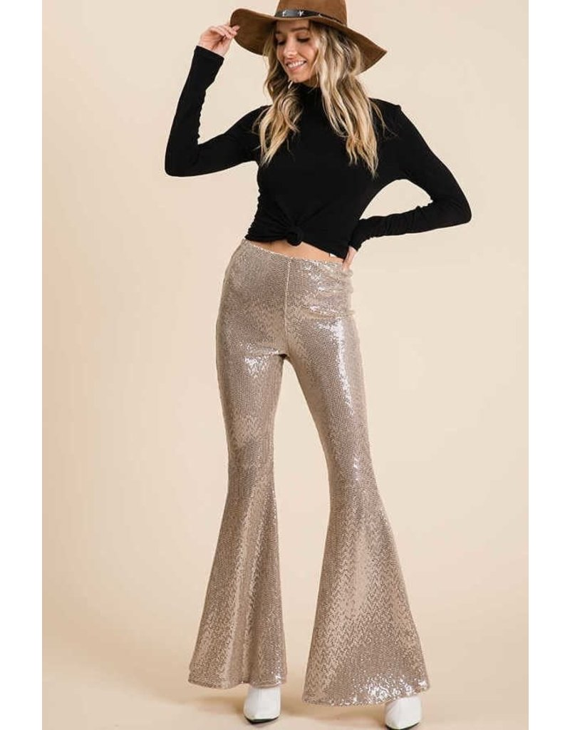 Sequin Fabric Flare Pants