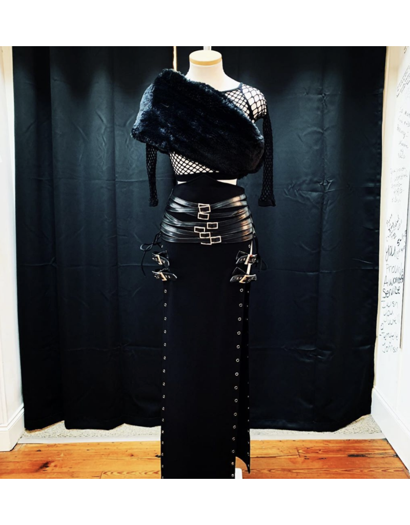 Black Maxi Slit Skirt Lace Up Sides Multi Belt