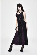 Gothic Violet Floral Lace Dress