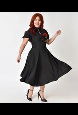 1950s Red Rose Swing Dress