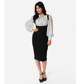 High Waisted Suspender Pencil Skirt
