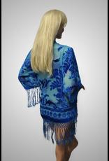 Short Velvet Burnout Tassel Kimono