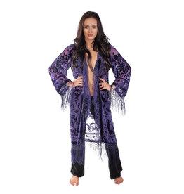 Long Velvet Burnout Tassel Kimono
