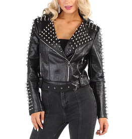 Pressed Faux Leather Moto Jacket