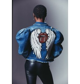 CLASSIC BLUE JEAN INC. Lips & Wings Distressed Denim Jacket