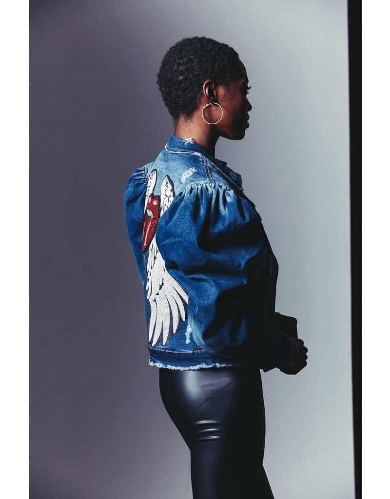 CLASSIC BLUE JEAN INC. Lips & Wings Distressed Denim Jacket