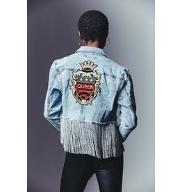 "CLASSIC BLUE JEAN INC. ""Queen"" Applique Fringe Denim Jacket"