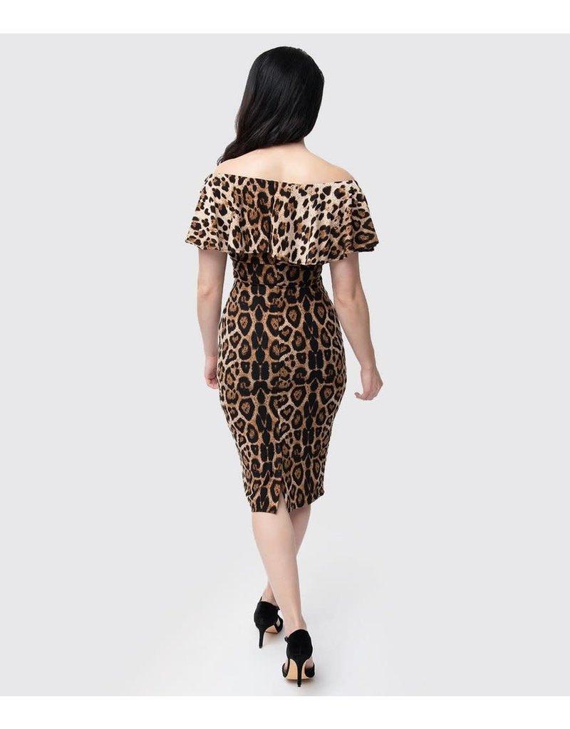 Leopard Off Shoulder Ruffle Wiggle Dress