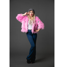JENNAFER GRACE PINK STAR FAUX FUR CHUBBY JACKET