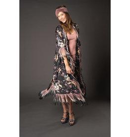 JENNAFER GRACE Dragon Blossom Fringe Koi Slim Sleeve Kimono